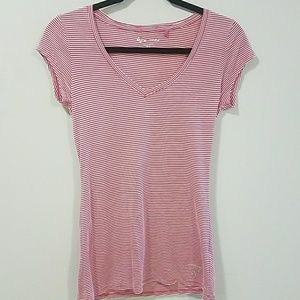 Guess Pink and White Striped V-Neck Shirt